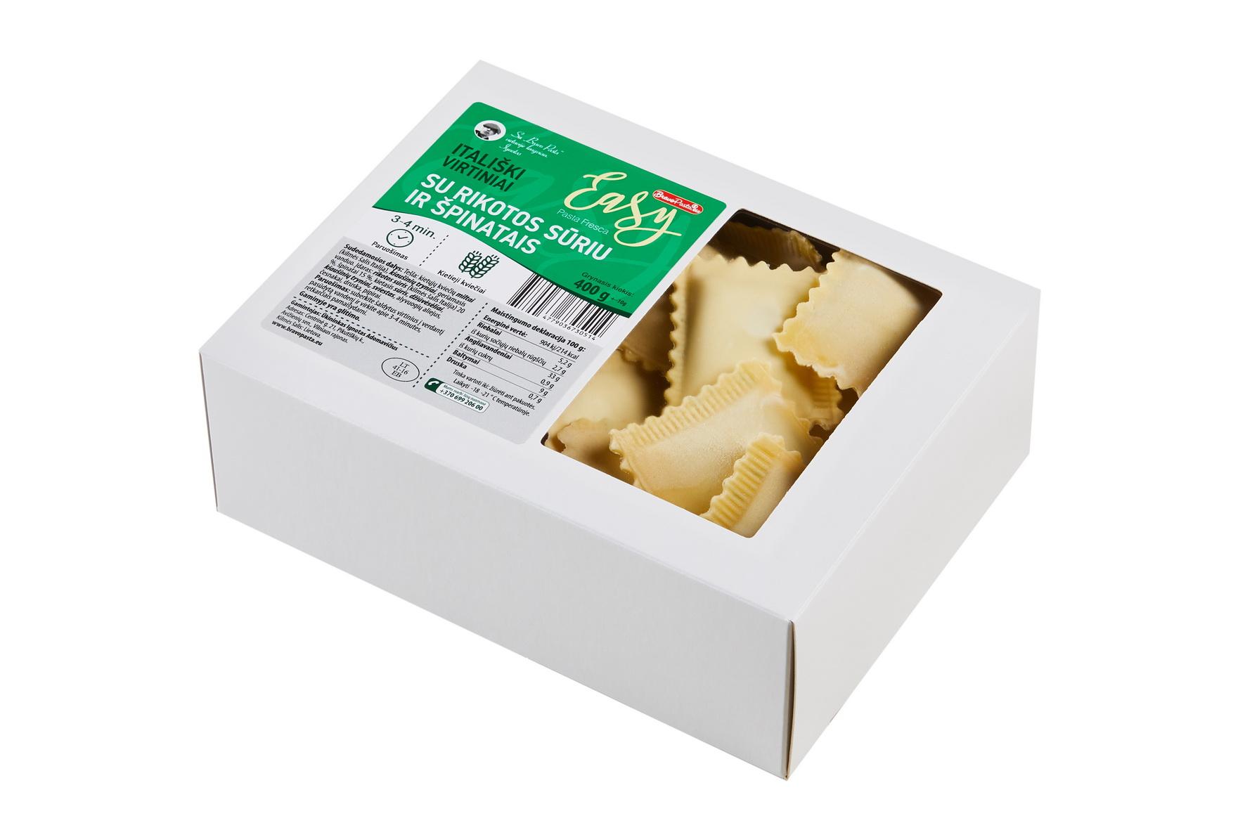 Šaldyti ravioliai su rikotos sūriu ir špinatais